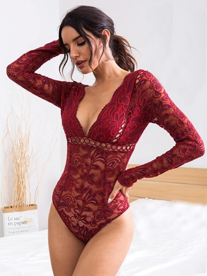 Plunging V-cut Back Sheer Lace Bodysuit