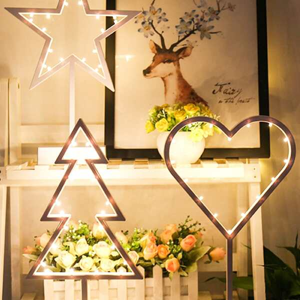 1pc Star & Heart & Tree Shaped Table Lamp, White