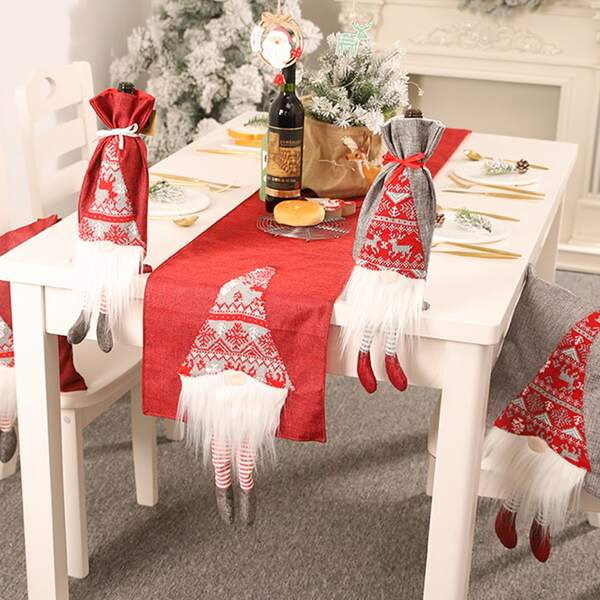 1pc Christmas Decorative Table Runner, Red