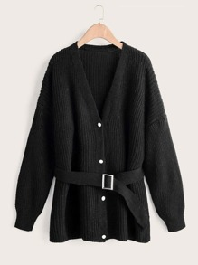 Ribbed Knit Button Through Belted Cardigan