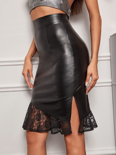 Contrast Lace Faux Leather Bodycon Skirt