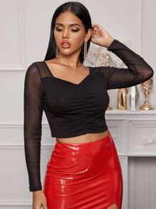 Contrast Mesh Ruched Front Crop Top