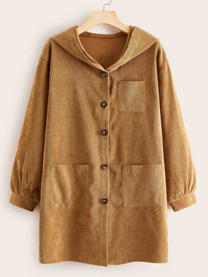 Button Through Dual Pocket Corduroy Coat