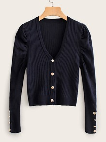 Button Front Puff Sleeve Cardigan