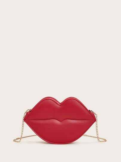 Lips Design Chain Crossbody Bag