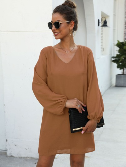Lantern Sleeve V-Neck Tunic Dress