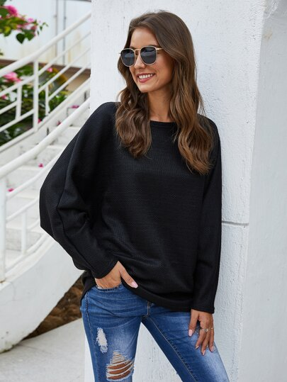 Batwing Sleeve Round Neck Sweater