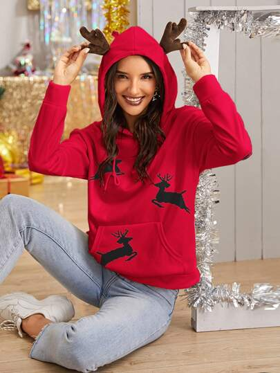 Christmas Print Drawstring Hooded Sweatshirt