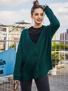 Button Through Ribbed Knit Cardigan