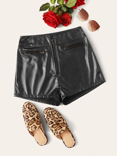 Zip Front PU Leather Shorts
