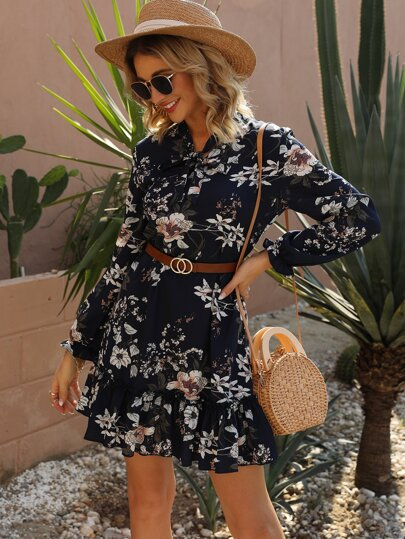 Floral Print Tie Neck A-line Dress