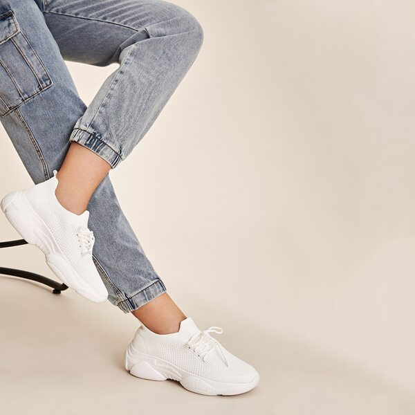 Lace-up Front Wide Fit Chunky Sneakers, White