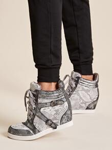 Lace-up Front Snakeskin Buckle Decor Wedges Sneakers