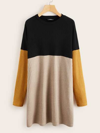 Colorblock Drop Shoulder Rib-knit Dress