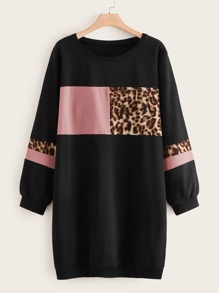 Plus Contrast Leopard Panel Sweatshirt Dress