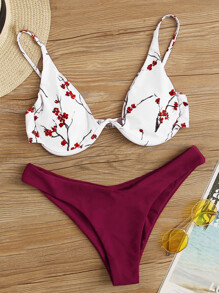 Floral Print Underwire Top With High Cut Bikini