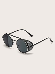 Top Bar Round Detachable Retro Sunglasses With Case