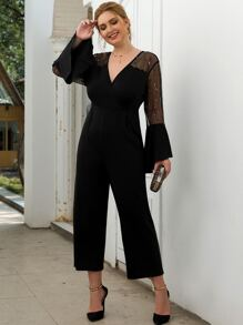 Plus Embroidery Mesh Panel Flounce Sleeve Jumpsuit