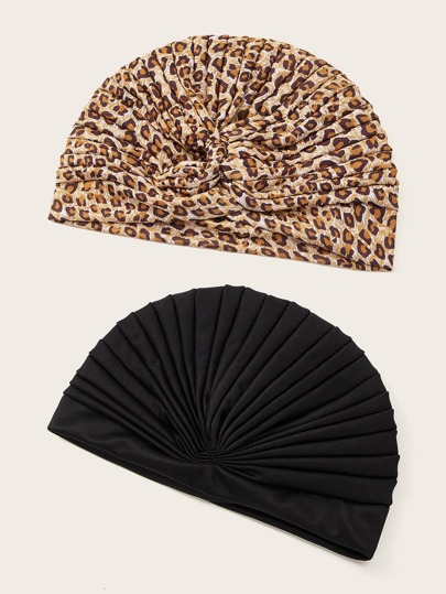 2pcs Leopard Pattern Turban Hat