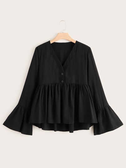 Plus Solid Button Half Babydoll Blouse