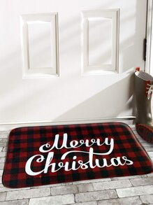 Christmas Slogan Print Plaid Floor Mat