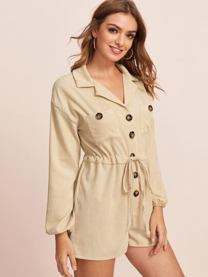 Solid Button Front Drawstring Waist Romper