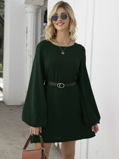 Lantern Sleeve Tunic Dress With Belt