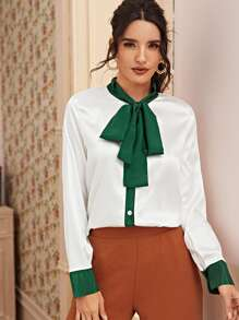 Tie Neck Button Through Satin Blouse