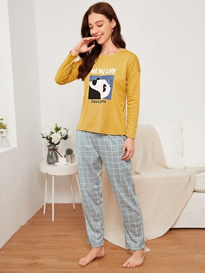Panda & Letter Print Plaid Pajama Set