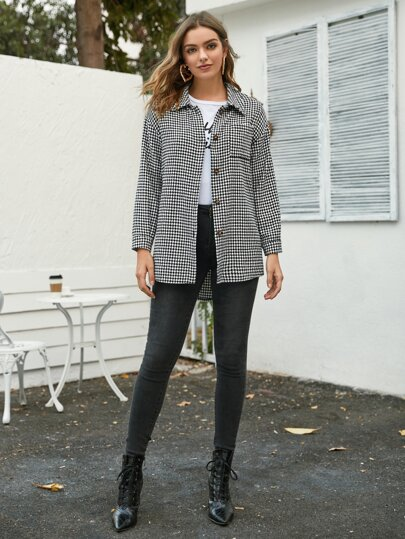 Houndstooth Button Through Tweed Coat