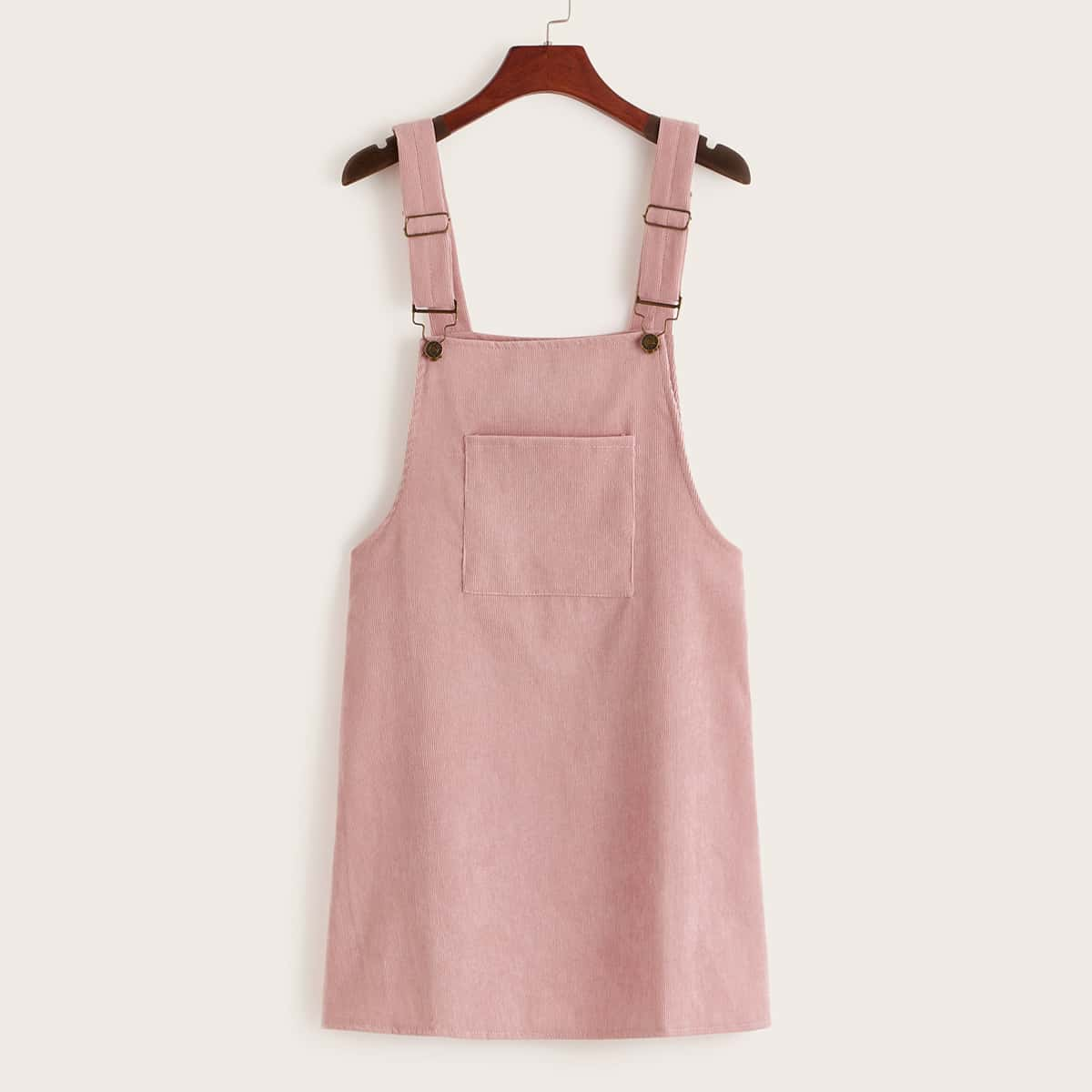 Вельветовое сарафан-платье с карманом от SHEIN