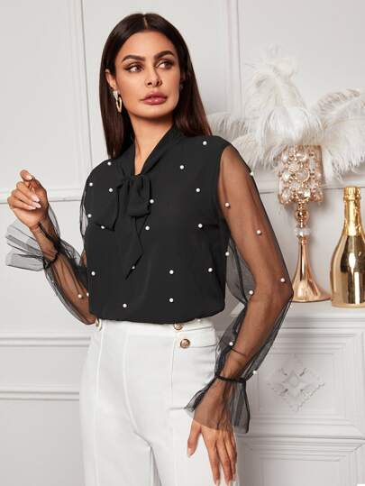 Contrast Mesh Pearls Tie Neck Blouse