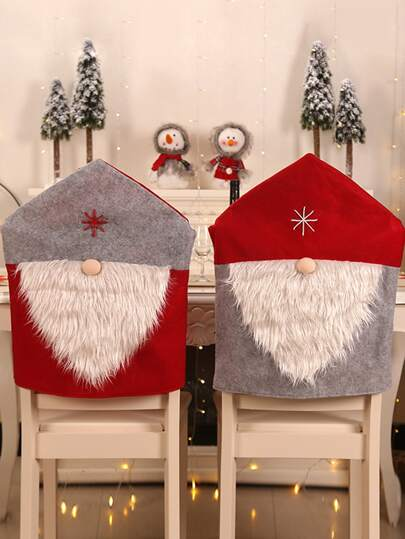 1pc Christmas Gnome Design Chair Back Cover
