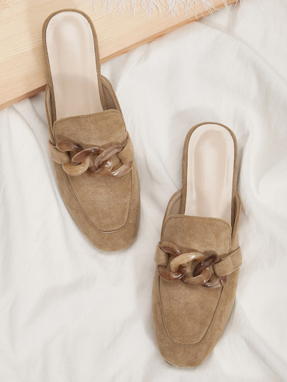 Chain Decor Suede Flat Mules
