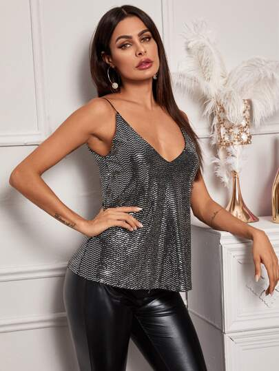 Sequin Panel Solid Cami Top