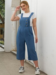 Plus Frill Trim Button Detail Denim Overall