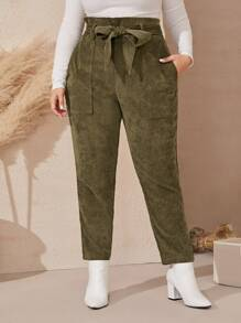Plus Pocket Side Self Tie Corduroy Pants