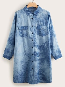 Plus Tie Dye Button Up Denim Shirt Dress