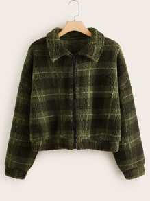 Plus Plaid Print Zip Up Teddy Jacket