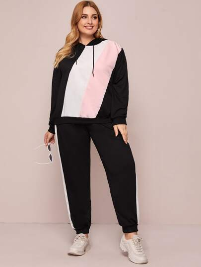Plus Colorblock Drawstring Hoodie & Sweatpants Set