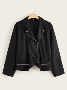 Plus Zip Detail Suede Moto Jacket