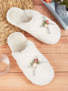 Floral Decor Fluffy Slippers