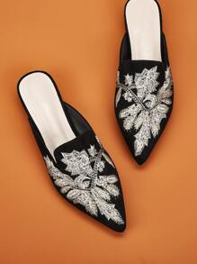 Point Toe Embroidered Flat Mules