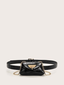 Mini Croc Embossed Chain Fanny Pack