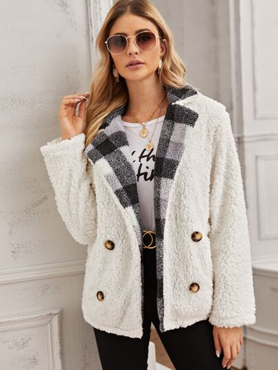 Contrast Gingham Panel Waterfall Teddy Coat