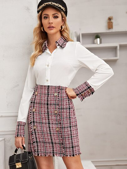 Contrast Tweed Button Through Blouse & Frayed Edge Tweed Skirt