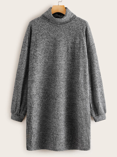 Funnel Neck Lantern Sleeve Marled Dress