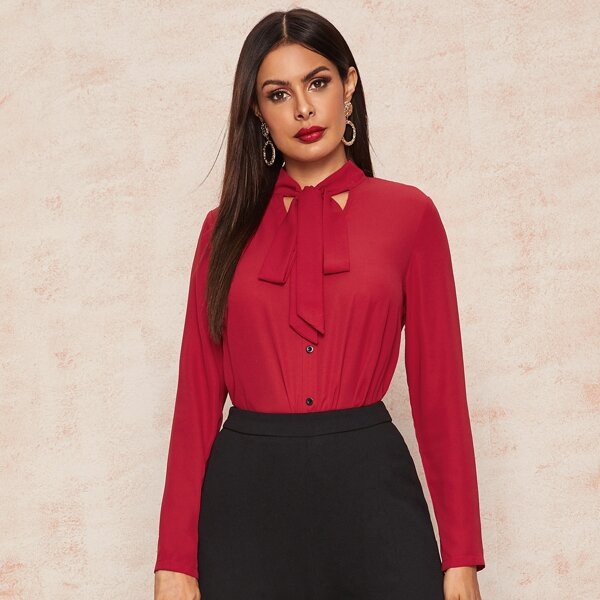 Tie Neck Button Front Blouse, Red bright