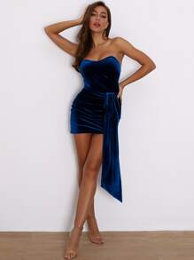 Joyfunear Ruched Draped Velvet Mini Bodycon Tube Dress