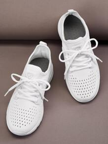 Lace-up Front Perforated Sneakers
